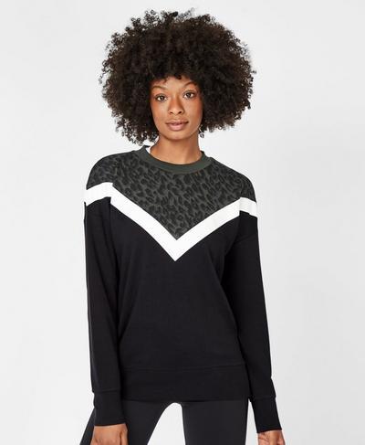 Colour Block Sweatshirt, Olive | Sweaty Betty