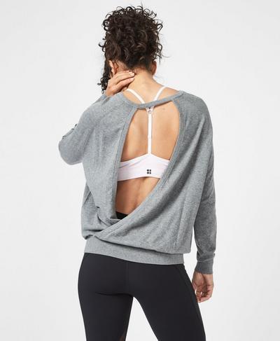 Eternal Open Back Sweater, Charcoal | Sweaty Betty