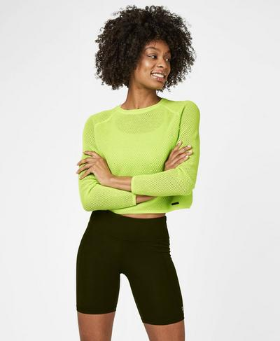 Idol Mesh Jumper, Green Alert | Sweaty Betty