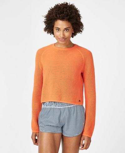 Idol Knitted Top, Orange | Sweaty Betty