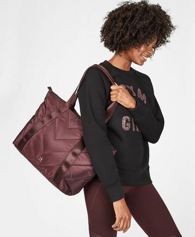 Icon Quilted Everyday Bag, Black Cherry | Sweaty Betty