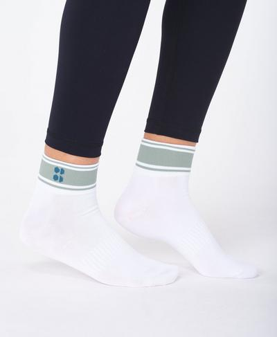 Striped Ankle Sock, Lily White | Sweaty Betty