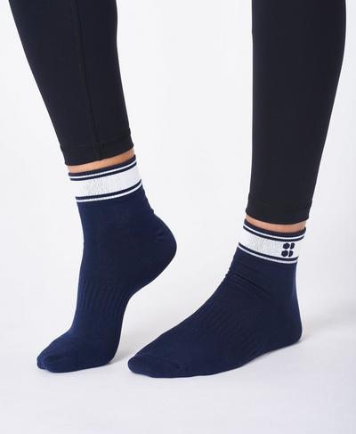 Striped Ankle Sock, Navy Blue | Sweaty Betty