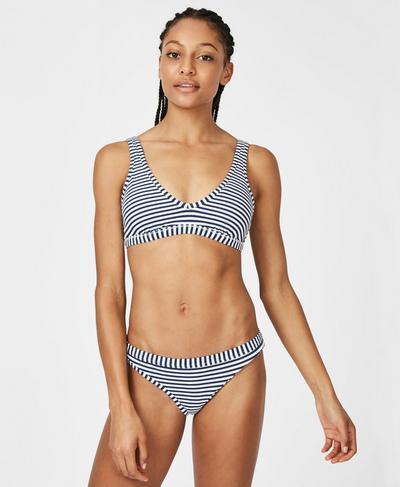 Retro Bikini Bottoms, Beetle Blue White Stripe | Sweaty Betty