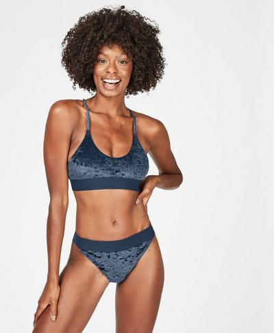 Volley Velvet Swim Bikini Top, Beetle Blue | Sweaty Betty
