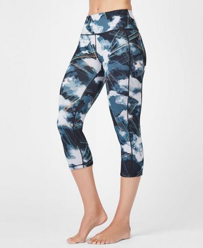 Reversible High Waisted Cropped Yoga Leggings, Black Cloud Print | Sweaty Betty