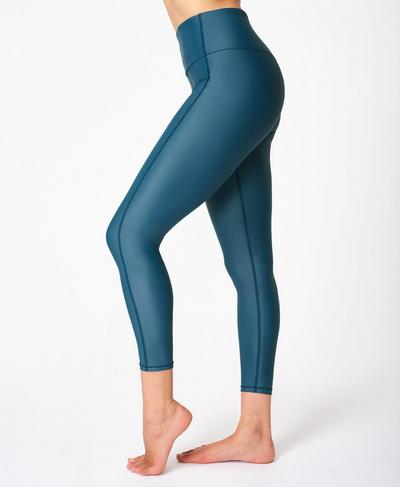 High Shine High Waisted 7/8 Leggings, Beetle Blue | Sweaty Betty