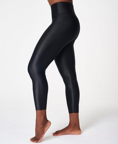 High Shine High Waisted 7/8 Workout Leggings, Black | Sweaty Betty