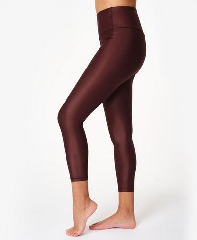 High Shine High Waisted 7/8 Leggings, Black Cherry Purple | Sweaty Betty