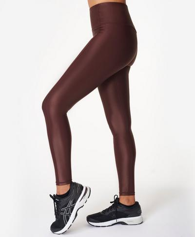 High Shine High Waisted Leggings, Black Cherry Purple | Sweaty Betty