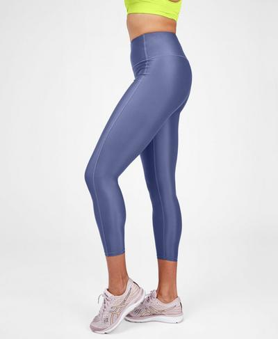 High Shine High Waisted 7/8 Workout Leggings, Crown Blue | Sweaty Betty
