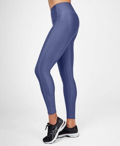 High Shine High Waisted Workout Leggings, Crown Blue | Sweaty Betty