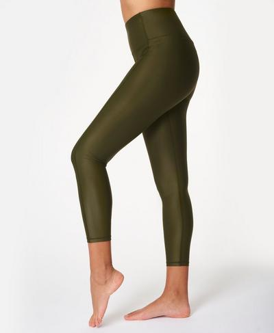 High Shine High-Waisted 7/8 Leggings, Dark Forest Green | Sweaty Betty