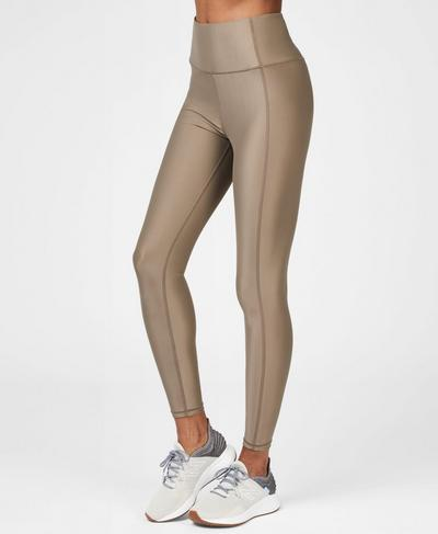 High Shine High Waisted Workout Leggings, Dark Taupe | Sweaty Betty
