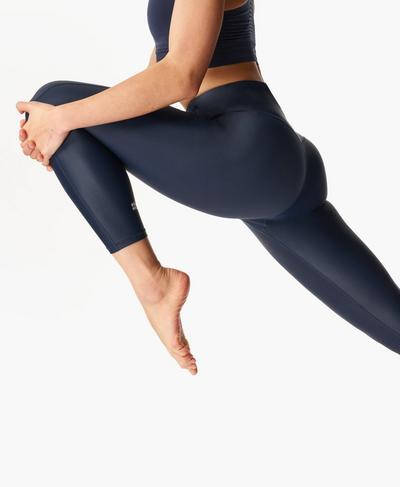High Shine High-Waisted 7/8 Leggings, Navy Blue | Sweaty Betty
