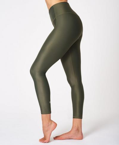 High Shine High Waisted 7/8 Leggings, Olive | Sweaty Betty