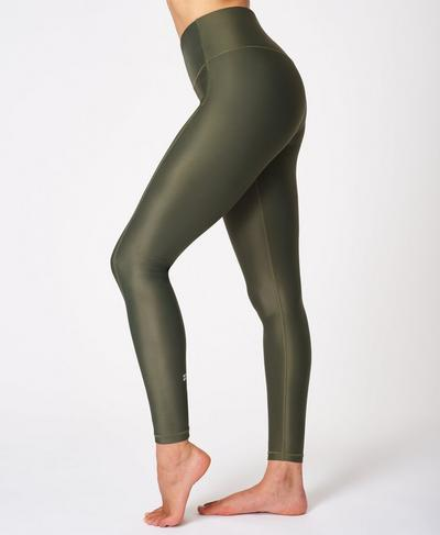 High Shine High-Waisted Leggings, Olive | Sweaty Betty