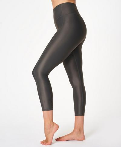 High Shine High-Waisted 7/8 Leggings, Slate Grey | Sweaty Betty