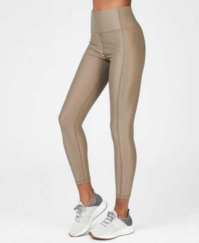 High Shine High Waisted 7/8 Workout Leggings, Dark Taupe | Sweaty Betty