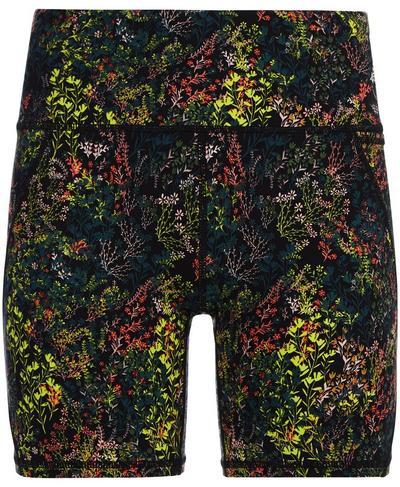 "Power 6"" Biker Shorts, Black Heather Floral Print | Sweaty Betty"