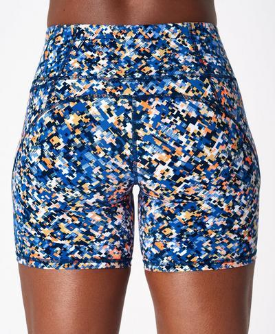 "Power 6"" Biker Shorts, Blue Pixelated Print | Sweaty Betty"