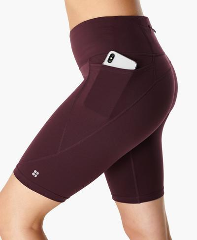 "Power 9"" Biker Shorts, Black Cherry Purple | Sweaty Betty"