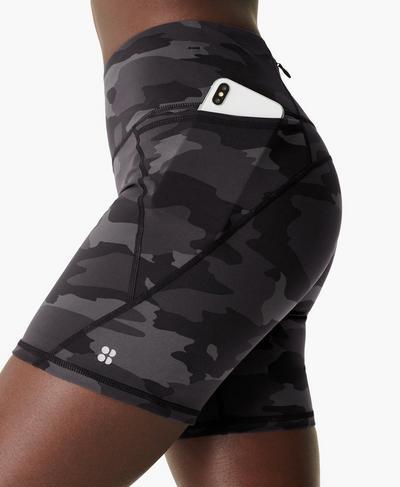 "Power 6"" Biker Shorts, Black Tonal Camo Print | Sweaty Betty"