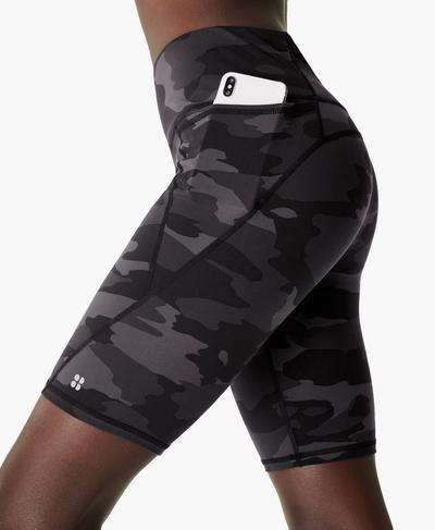 "Power 9"" Biker Shorts, Black Tonal Camo Print | Sweaty Betty"