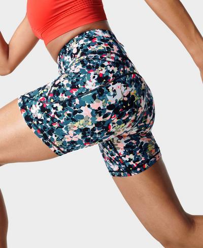 "Power 6"" Cycling Shorts, Blue Floral Splash Print | Sweaty Betty"