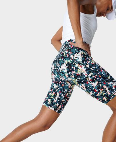 "Power 9"" Cycling Shorts - Coming Soon, Blue Floral Splash Print | Sweaty Betty"