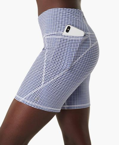 "Power 6"" Biker Shorts, Blue SB Move Print | Sweaty Betty"