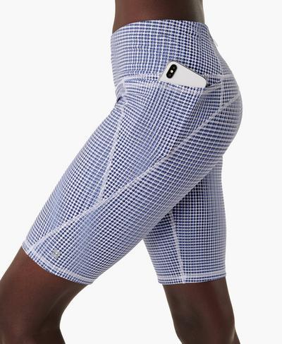 "Power 9"" Cycling Shorts, Blue SB Move Print | Sweaty Betty"