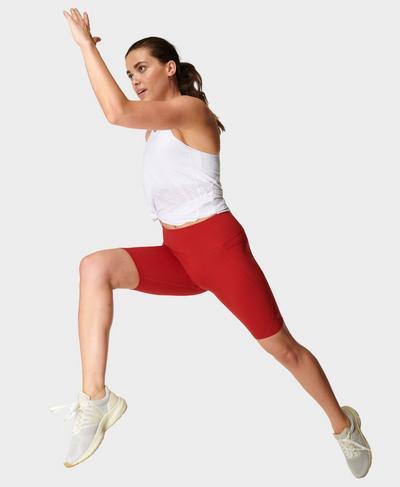 "Power 9"" Cycling Shorts, Cardinal Red | Sweaty Betty"
