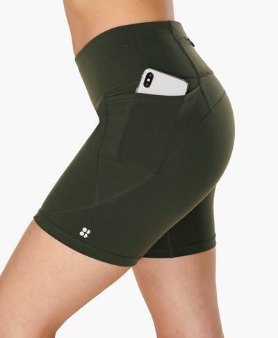 "Power 6"" Cycling Shorts, Dark Forest Green | Sweaty Betty"