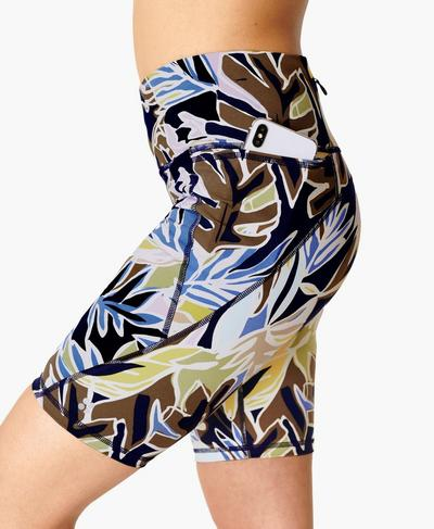 "Power 9"" Biker Shorts, Green Paper Leaf Print | Sweaty Betty"