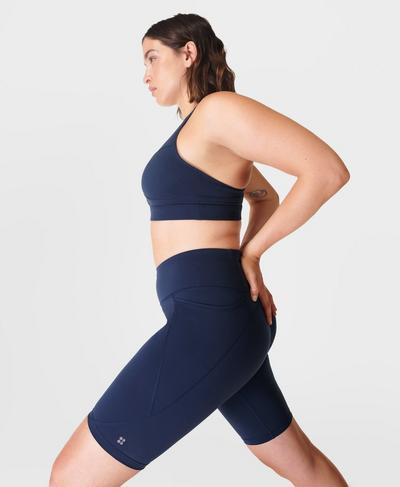 "Power 9"" Biker Shorts, Navy Blue | Sweaty Betty"