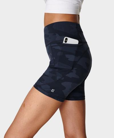 "Power 6"" Biker Shorts, Navy Blue Camo Print | Sweaty Betty"