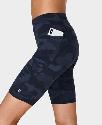 "Power 9"" Biker Shorts, Navy Blue Camo Print | Sweaty Betty"