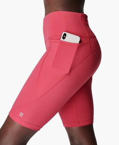 Power Radlershorts 23 cm, Tayberry Pink | Sweaty Betty