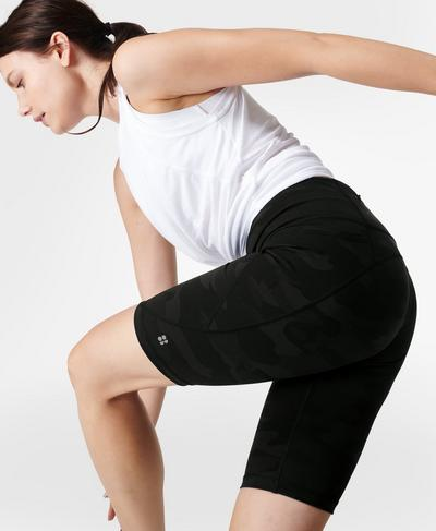 "Power 9"" Cycling Shorts, Ultra Black Camo Print | Sweaty Betty"