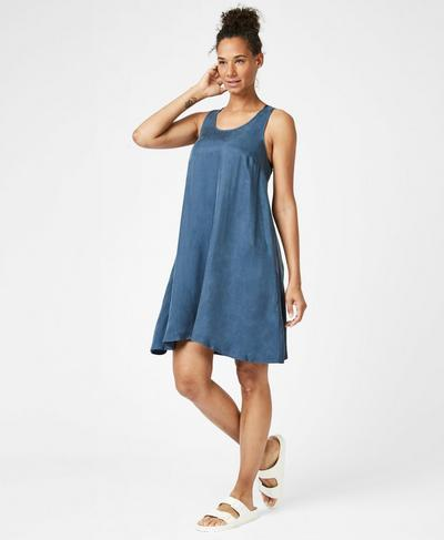 Dragonfly Dress, Washed Navy | Sweaty Betty