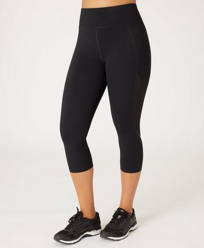 Zero Gravity High Waisted Cropped Running Leggings, Black | Sweaty Betty