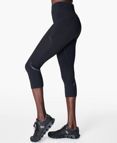 Zero Gravity Cropped High Waisted Running Leggings, Black   Sweaty Betty