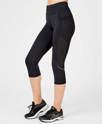 Zero Gravity High-Waisted Cropped Running Leggings, Black | Sweaty Betty