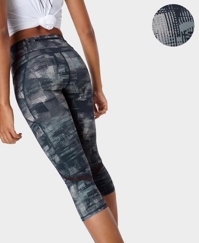 Zero Gravity High-Waisted Cropped Running Leggings, Navy Blue Frame Print | Sweaty Betty