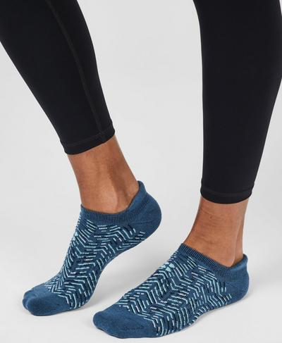 Sneaker Liners, Beetle Blue Herringbone Print | Sweaty Betty