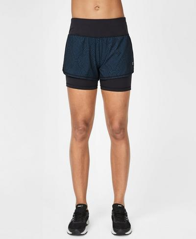 Challenge Running Shorts, Beetle Blue Interlinked Geo Print | Sweaty Betty