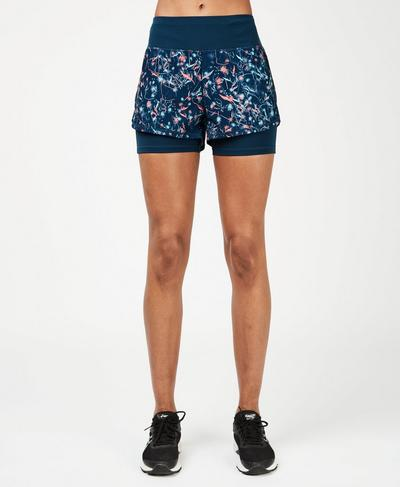 Challenge Running Shorts, Blue Mystical Floral Print | Sweaty Betty