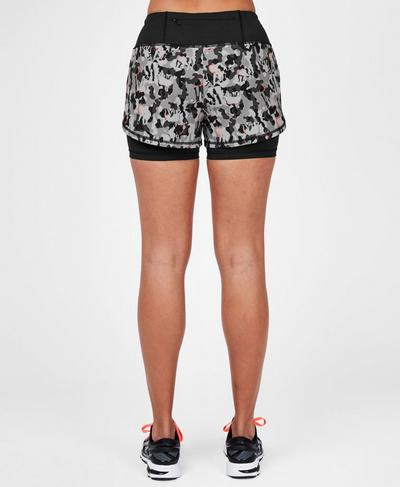 Challenge Running Shorts, Grey Elephant Camo Print | Sweaty Betty