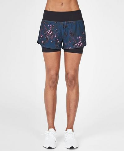 Challenge Running Shorts, Midnight Teal Daisy | Sweaty Betty